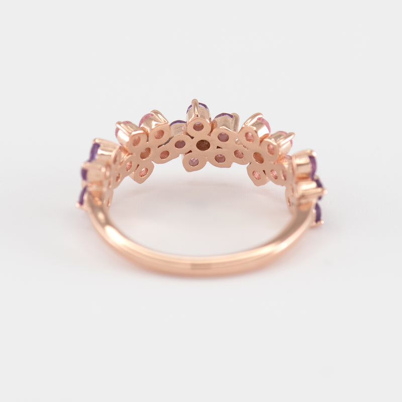 Charlotte Pink Sapphire and Amethyst Gold Ring back view