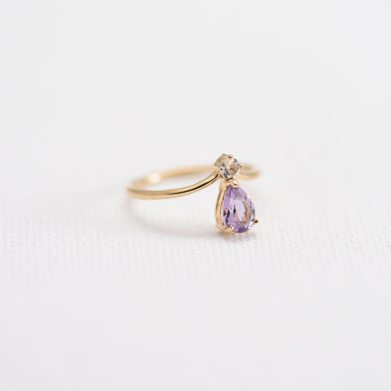 Amethyst and White Topaz on Gold band