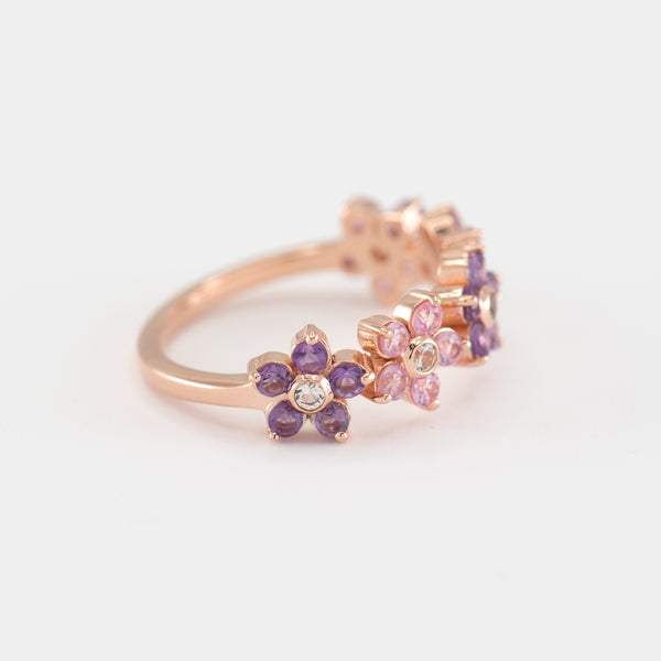 Charlotte Pink Sapphire and Amethyst Gold Ring left view