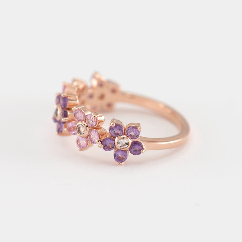Charlotte Pink Sapphire and Amethyst Gold Ring right view