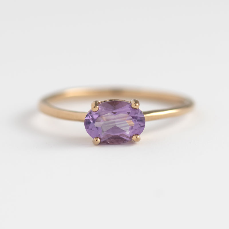 Cecile Amethyst on gold ring