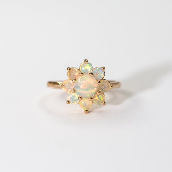 Opal flower gold ring Delilah