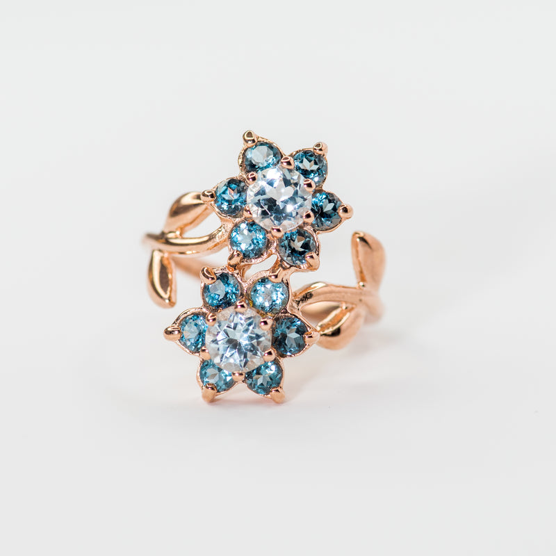 Jasmine Blue Topaz Rose Gold