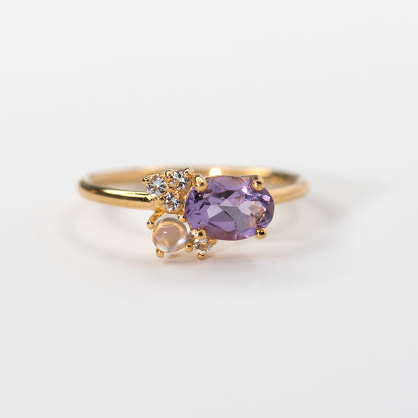 Jeni Moon Amethyst Topaz Moonstone Gold Band
