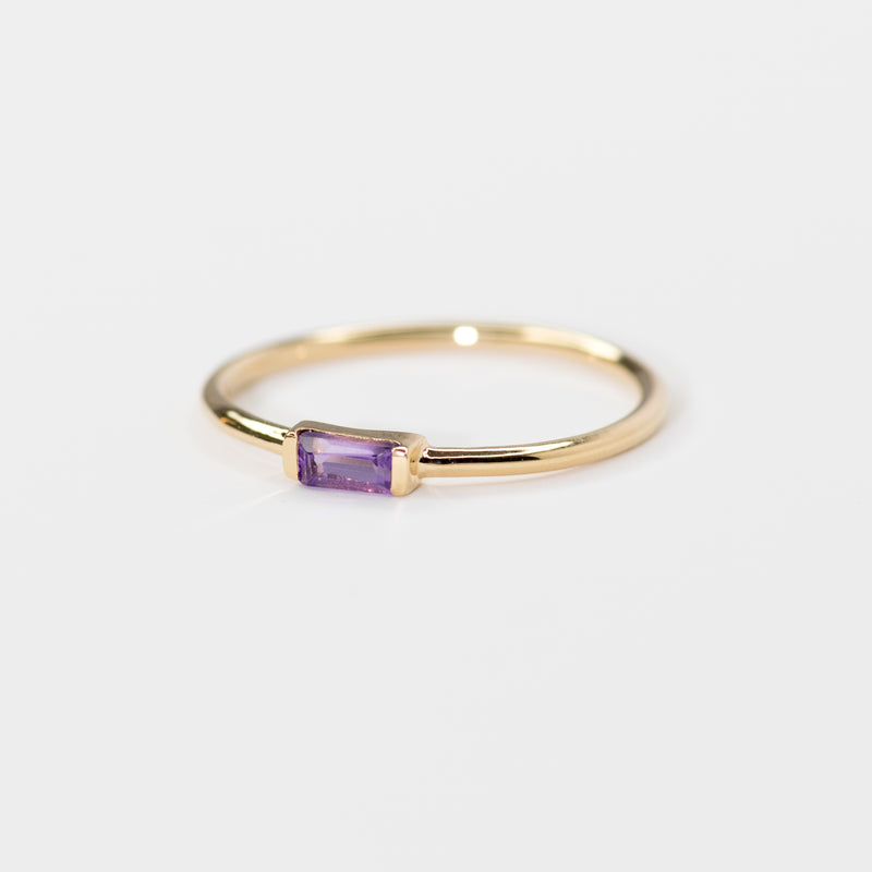 Amethyst on gold band Sienna