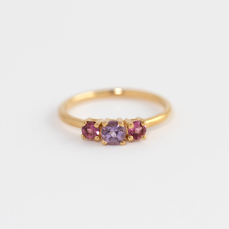 Neve Amethyst and Pink Tourmaline Gold Ring