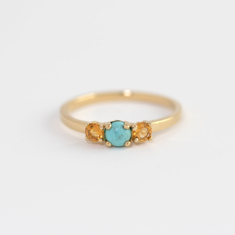 Turquoise and Citrine Gold Ring