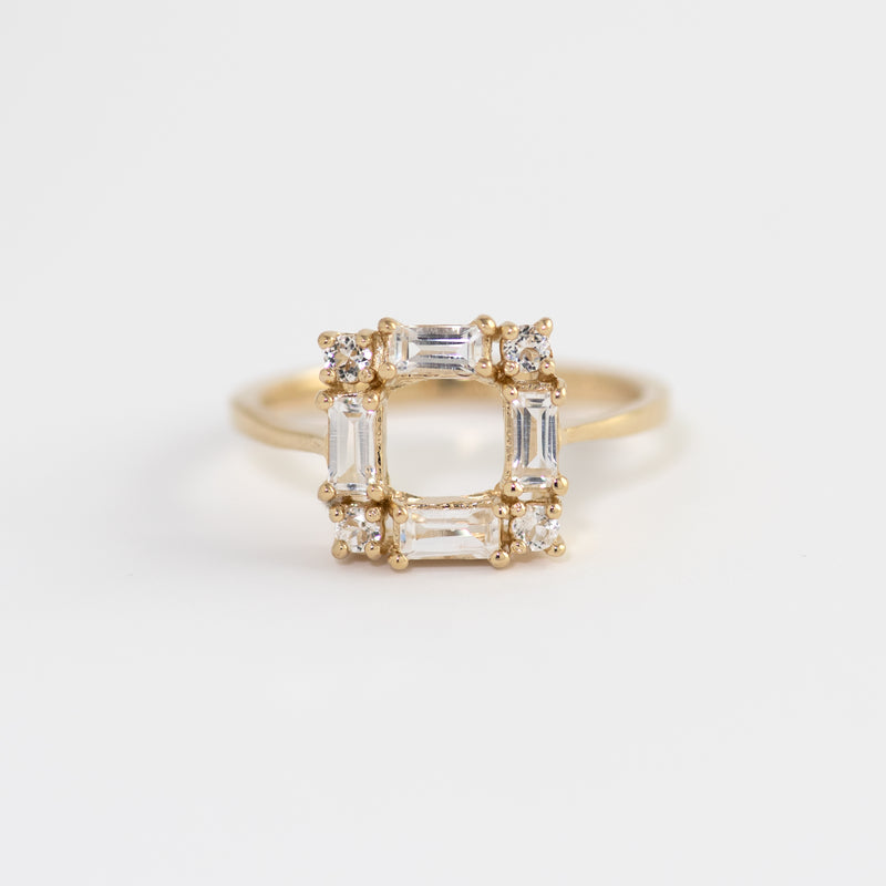 White Topaz on Gold Ring Lana front view