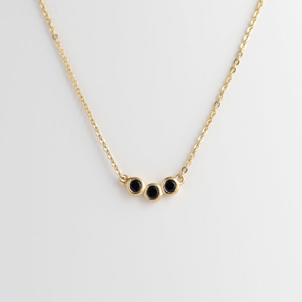 Black Spinel Yellow Gold necklace Karla