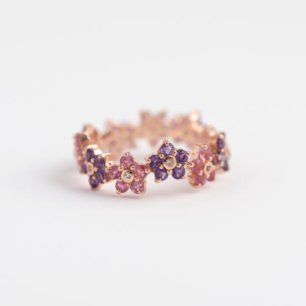 Pink Tourmaline on Rose gold band Fleur