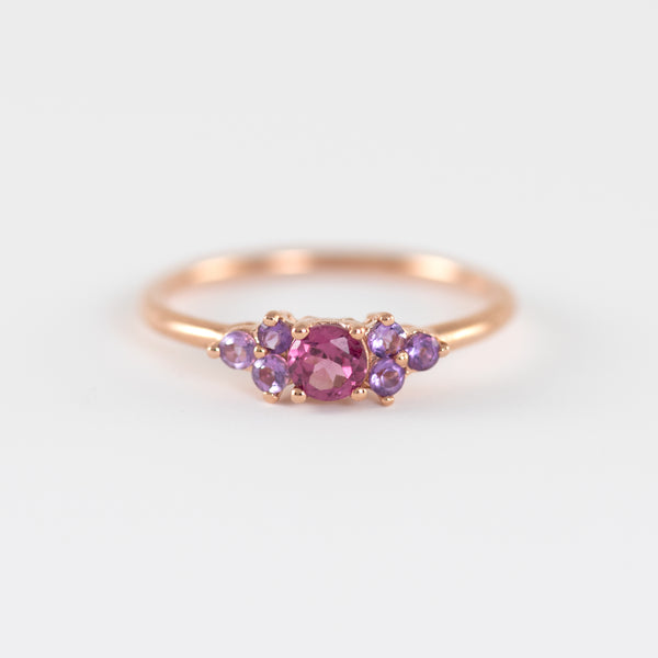 Leah Rhodolite and Amethyst Rose gold ring