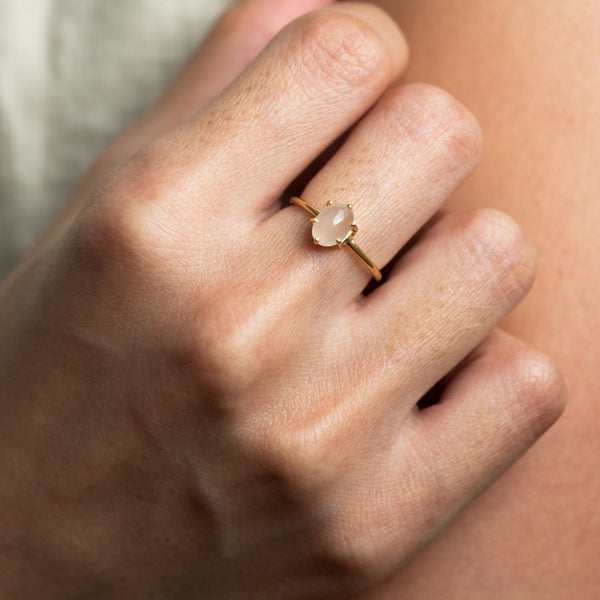 Kaitlyn moonstone gold ring worn on model
