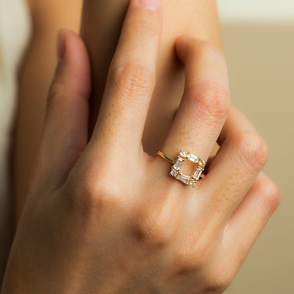 White Topaz Gold ring Lana worn on hand model