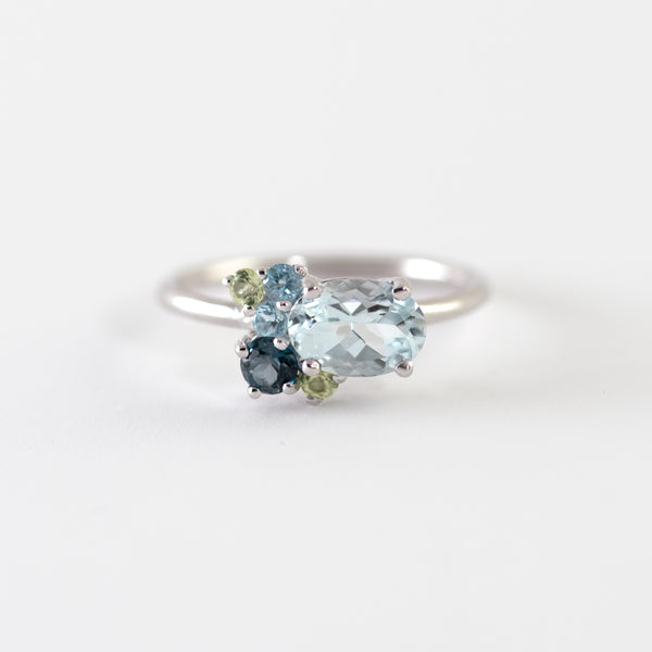Harper cluster white gold ring