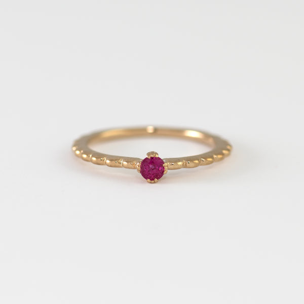 Levia Ruby on yellow gold ring