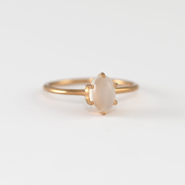 Kaitlyn Moonstone on yellow gold ring