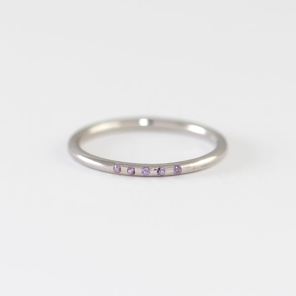 Amethyst White Gold Band Calais