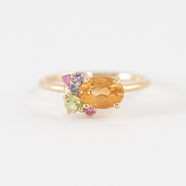 Tako Citrine cluster gold ring