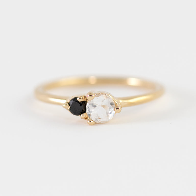 Spinel and White Topaz on gold ring Joanna