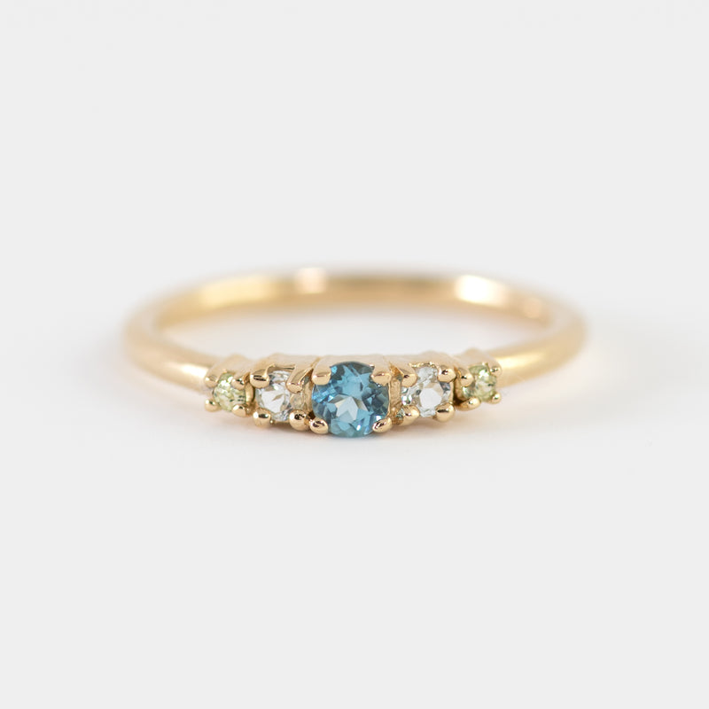Maya Blue Topaz Peridot gold ring
