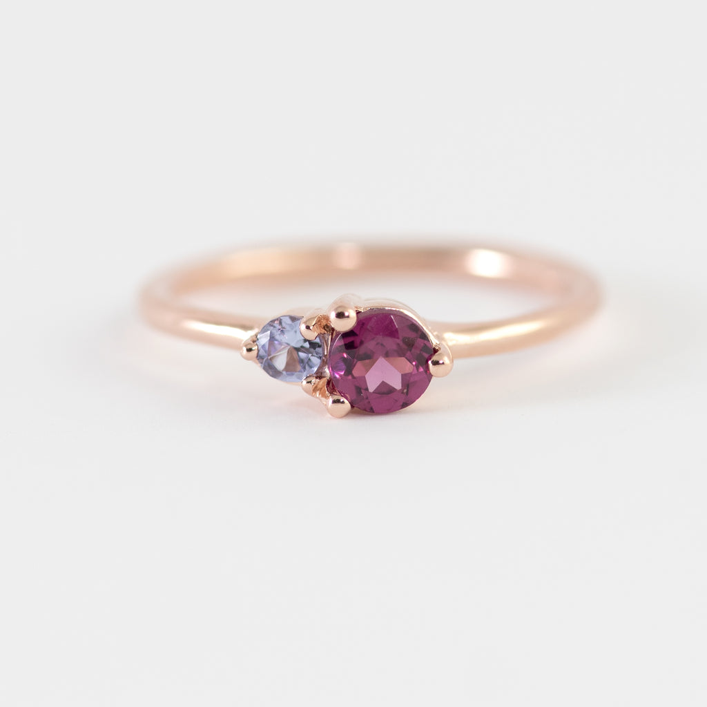 Juniper Rhodolite and Tanzanite gold ring