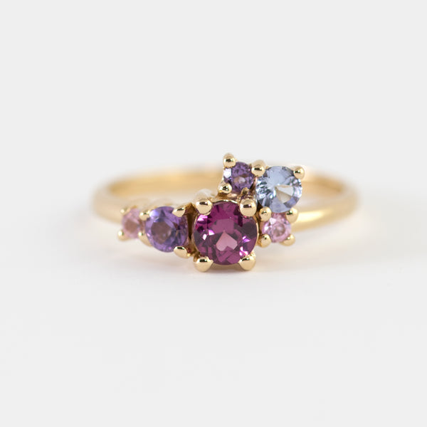 Margot Rhodolite and Amethyst cluster gold ring