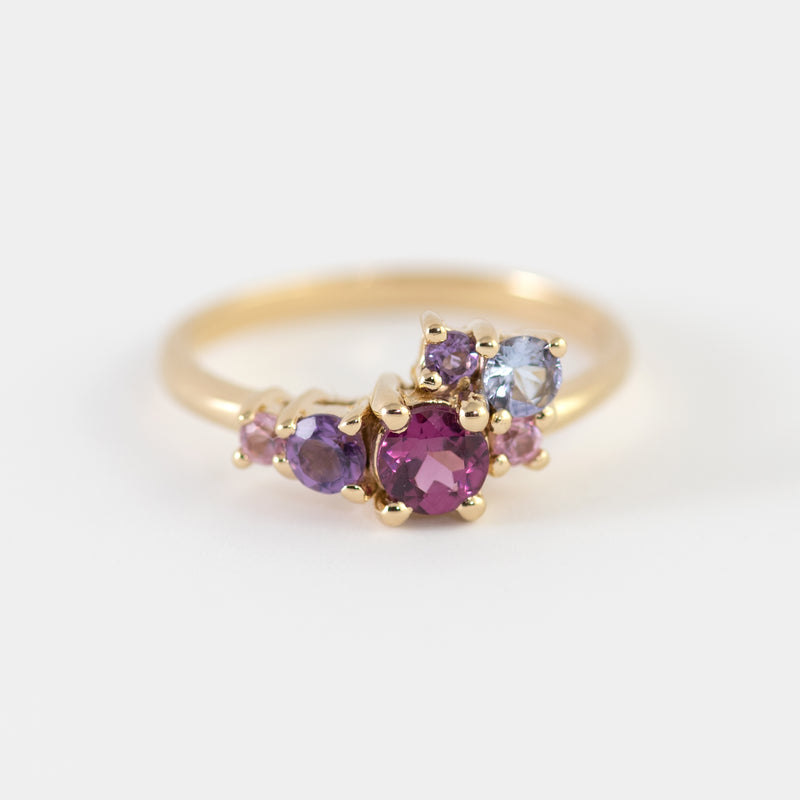 Margot Rhodolite and Amethyst cluster gold ring top view