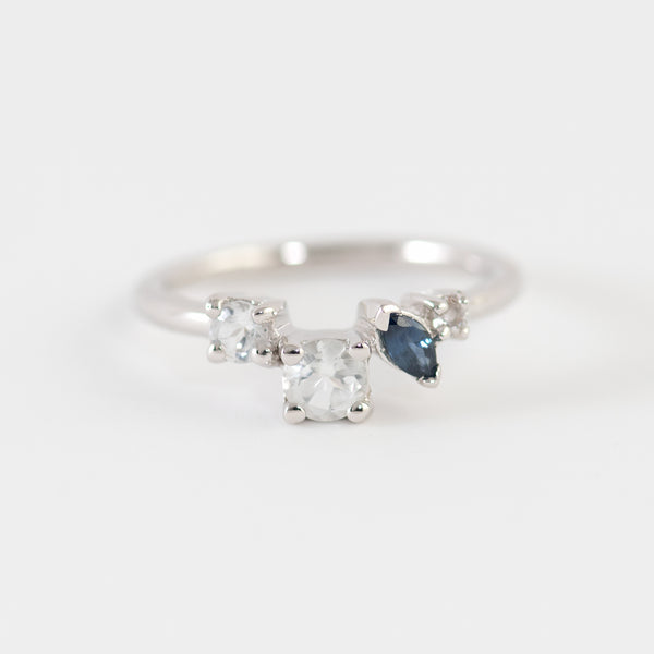 Pierina topaz and sapphire ring front view