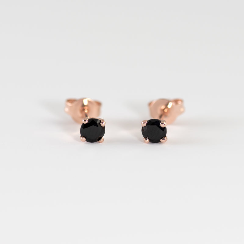 Black spinel rose Gold stud earrings Sid