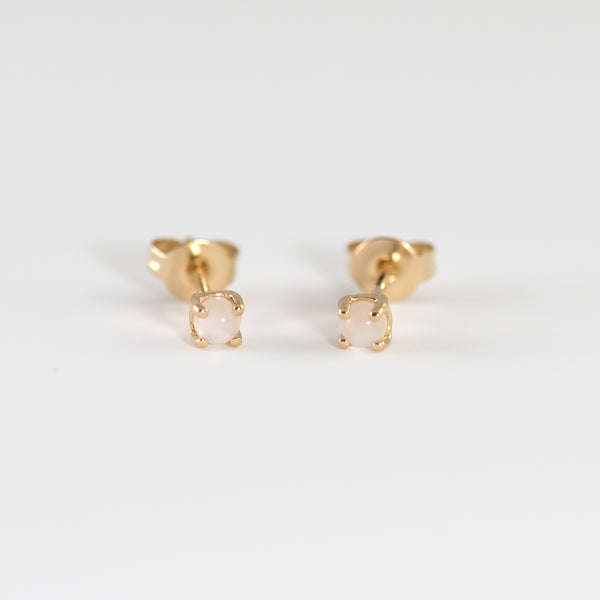 Moonstone on Gold stud earrings Avery