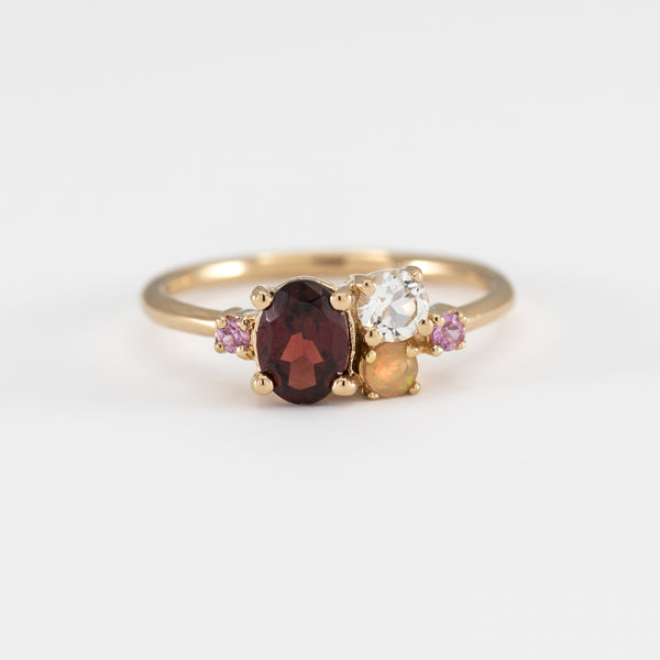 Garnet White Topaz Opal and Pink Sapphire gold ring Colbie