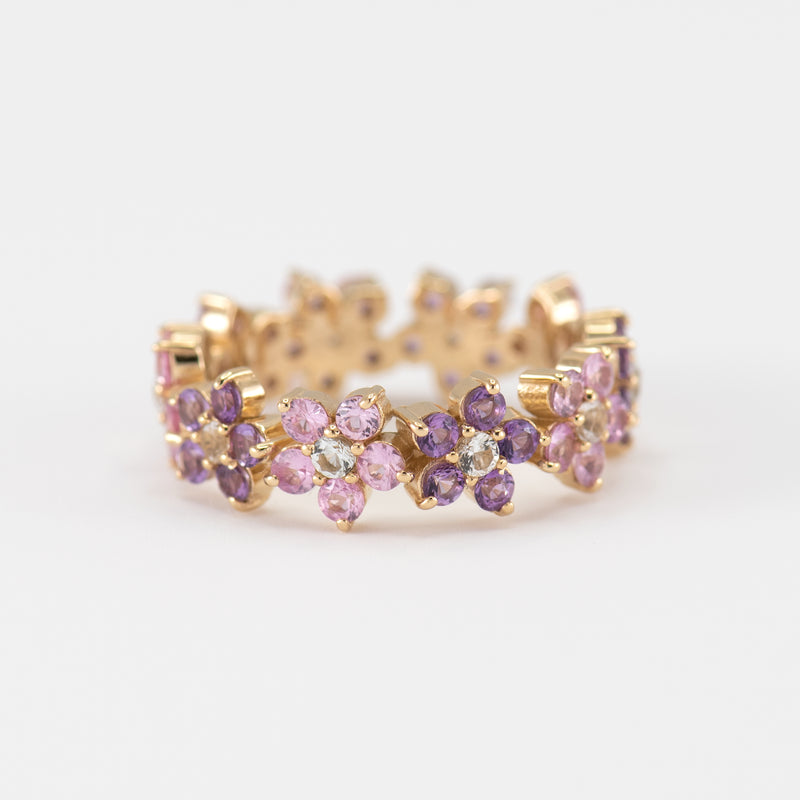 Fleur Amethyst and Pink Sapphire on Yellow gold ring