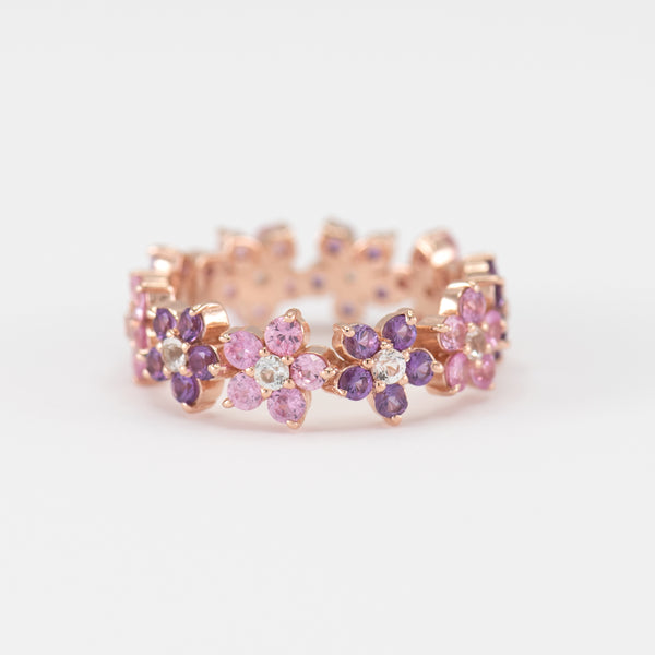 Fleur Amethyst and Pink Sapphire on Rose gold ring
