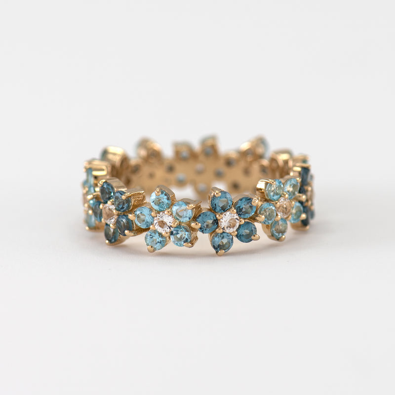 Viola Blue Topaz Rose yellow gold ring