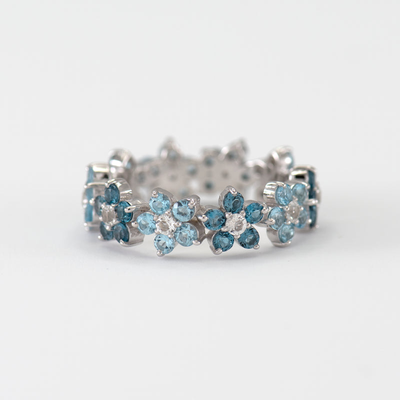 Viola Blue Topaz Rose white gold ring