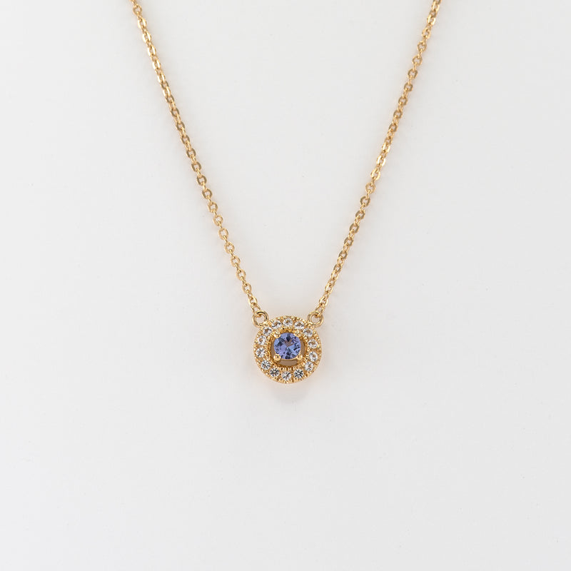Amelia Tanzanite and White Topaz Yellow Gold necklace