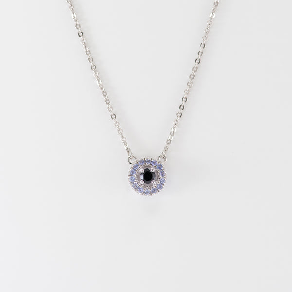 Tanzanite and Onyx white gold necklace Stella