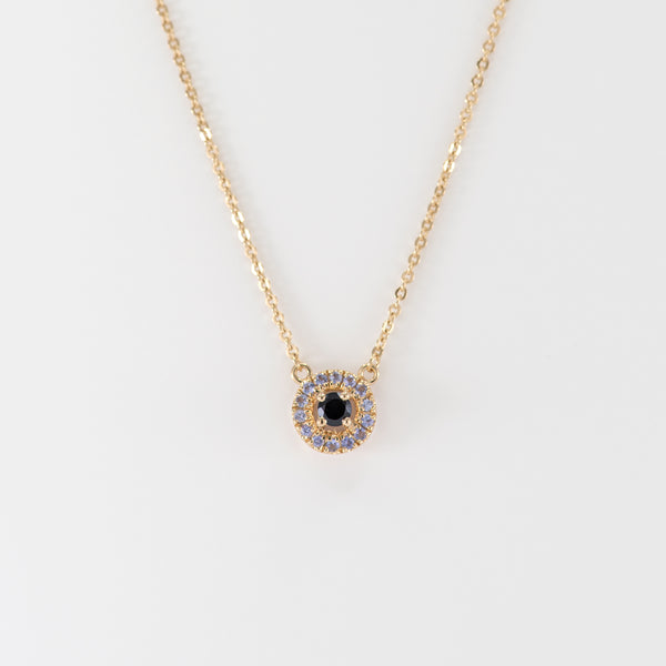 Tanzanite and Onyx yellow gold necklace Stella