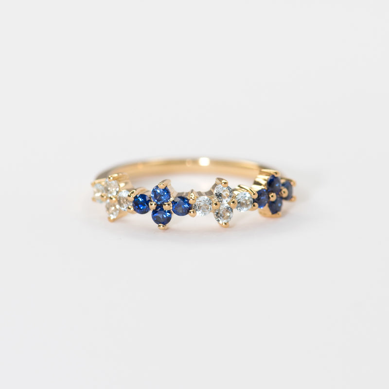 Malli Blue Sapphire and Blue Topaz Band