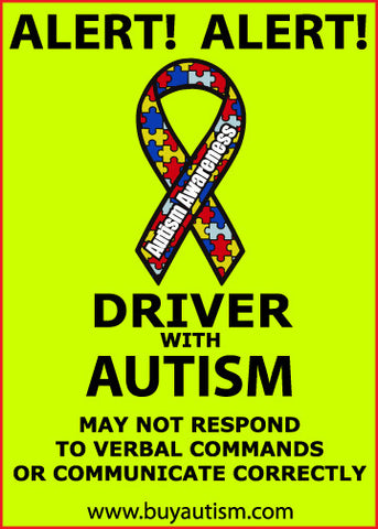 "Driver With Autism Alert Decal Sticker 5"" X  7""- FREE SHIPPING IN USA"