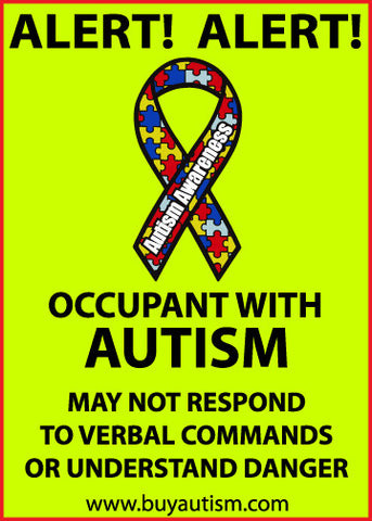 "Autism Occupant Alert Static Window Cling 5"" X  7"" - FREE SHIPPING IN USA"
