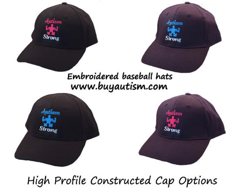 AUTISM STRONG embroidered & Constructed baseball hat-  Free Shipping in the USA!