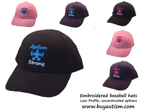 AUTISM STRONG embroidered, unconstructed, baseball hat-  Free Shipping in the USA!