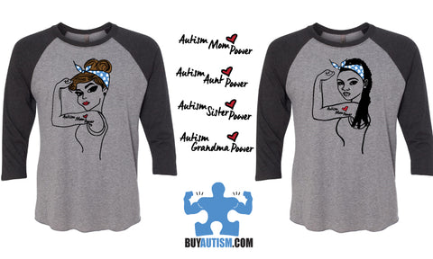 Autism Sister Power Raglan 3/4 Sleeve Baseball Style Shirt