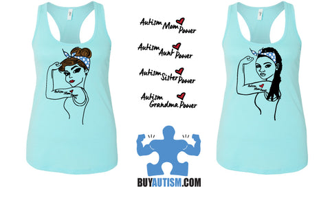 Autism Mom Power Racerback Tank Top