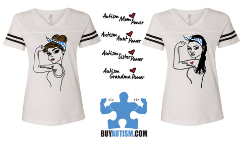 Autism Sister Power V-neck Football Style Short Sleeve Shirt