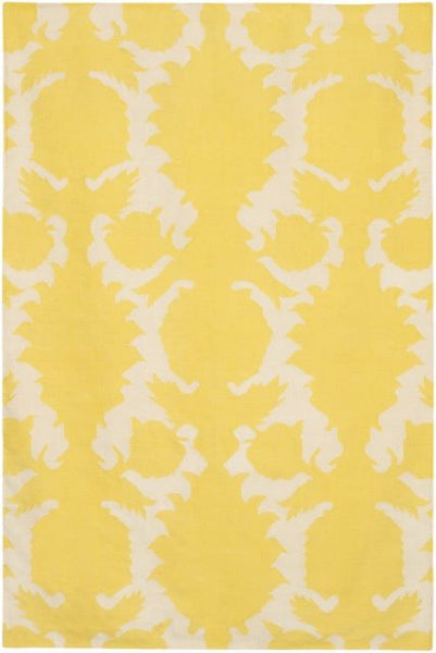Flock Rug in Yellow and Ivory - Yarn and Loom Rugs