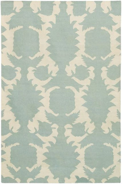 Flock Rug in Pale Blue and Ivory - Yarn and Loom Rugs