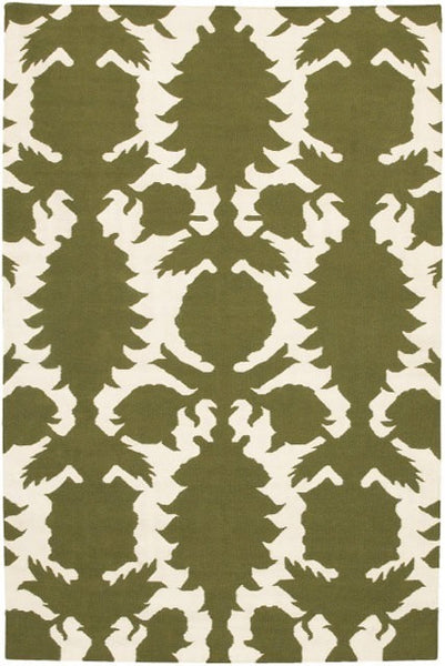 Flock Rug in Green and Ivory - Yarn and Loom Rugs