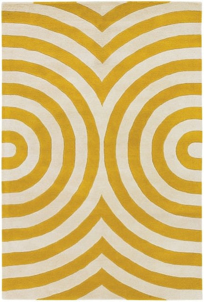 Geometric Rug in Yellow and Ivory - Yarn and Loom Rugs